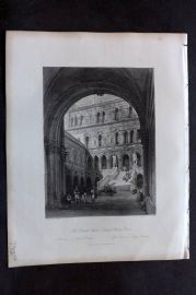 Fisher (Pub) 1844 Antique Print. Giants Stairs, Ducal Palace, Venice Italy